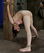 Bound strappado to a beam & double penetrated