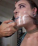 Roped, cuffed, nipple clasped, gagged tightly