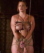 Busty slavegirl roped, pegged and fucked