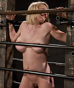 Big titted blonde trapped in the big squeeze