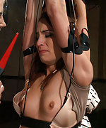 Two girls bound together, shocked and electrostimulated
