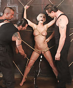 Blond slavegirl gets roped to wall, used and fucked