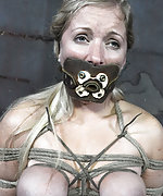 Blonde fucked in predicament bondage