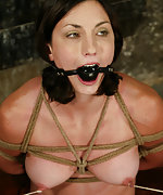Wenona bound, gagged, suspended and made to cum