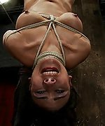 Bound in a reverse prayer, nipple tortured, face fucked, made to cum