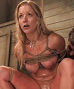 Dia gets roped, whipped, dildoed and used