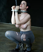 Slavegirl gets cuffed, tits clamped and blistered