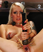 Blonde gets fucked and punished live on webcam