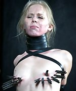 Leather armbinder, straps, pegs, forced orgasms