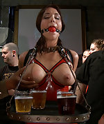 Taken to a biker bar and fucked while in bondage