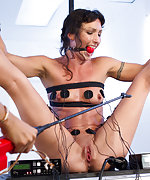 Athletic brunette roped, ball-gagged, electro fucked