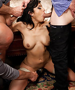 She is tied up and face fucked, then fucked in every hole