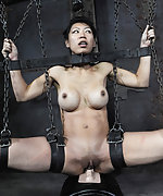 Cuffed, caned, ass hooked and vibed