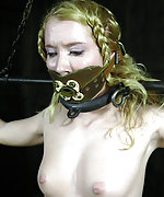 Blonde gets stripped, cuffed, tits and pussy clamped