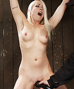 Blond milf bound spread and jolted with electricity